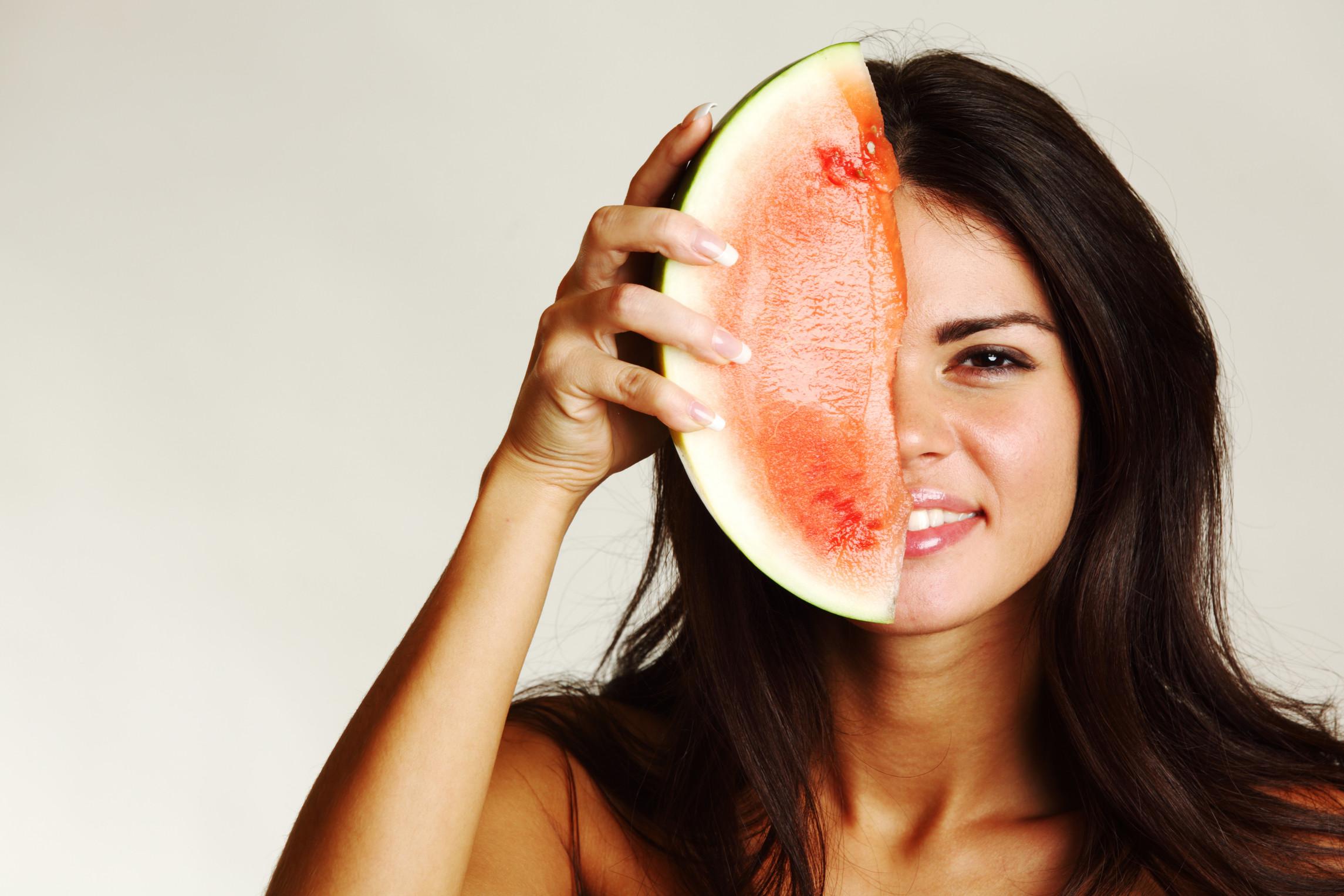 Watermelon hard woman, interracial huge cock sex