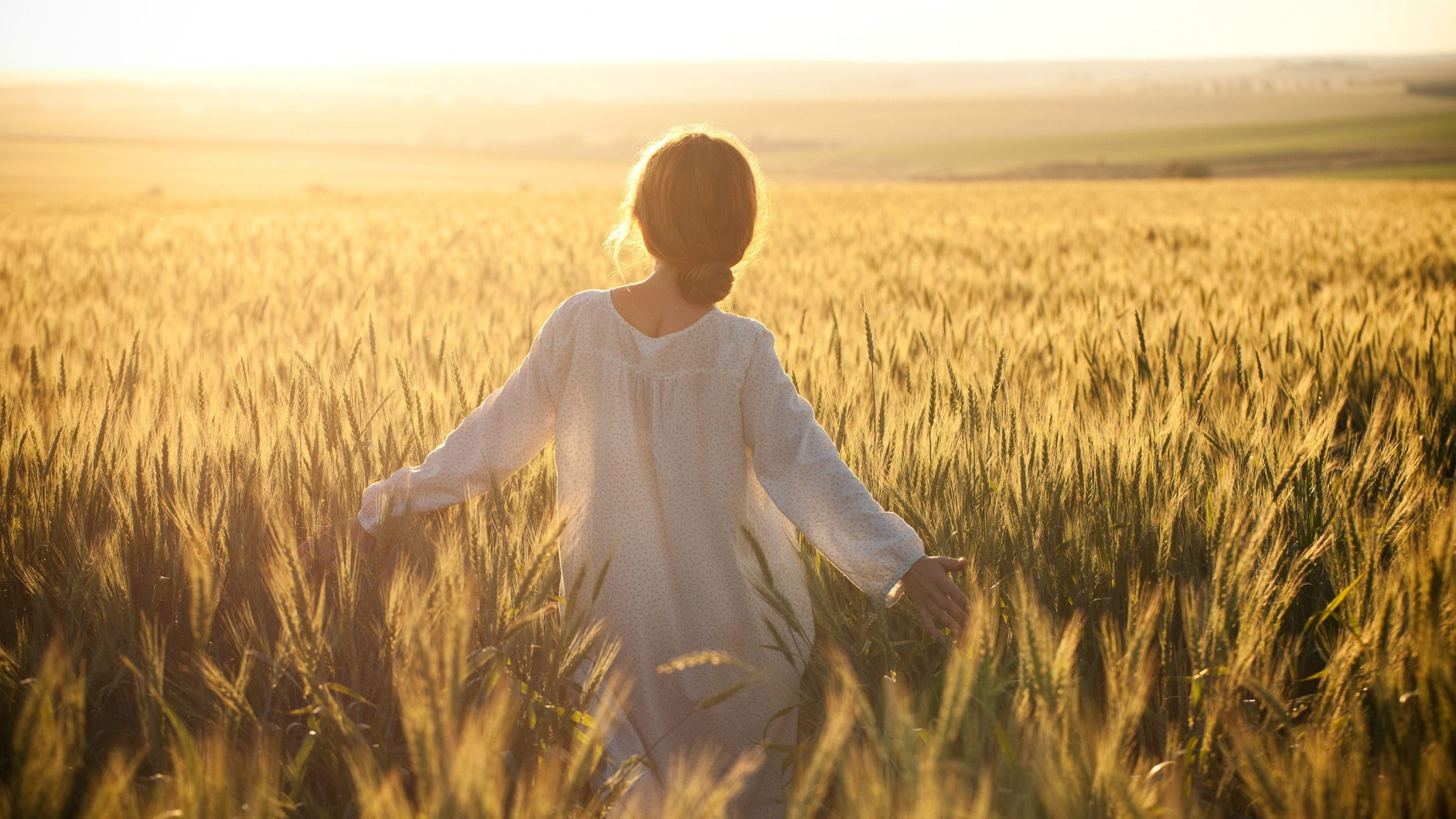 Girl Girls A Woman Women The Field Wind Wheat Vintage Yellow Sky Dress Hair From Back Walk Freedom Happiness One Loneliness Beautiful